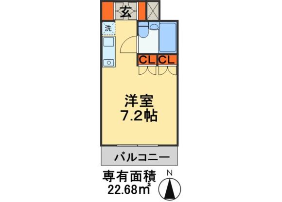 1R Apartment to Rent in Kashiwa-shi Floorplan