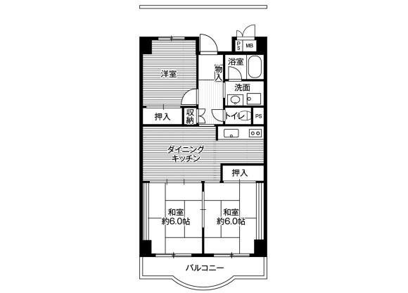 3DK Apartment to Rent in Minato-ku Floorplan