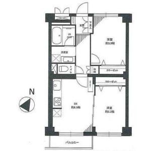 港區芝浦(2〜4丁目)-2DK{building type} 房間格局