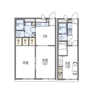 2DK Apartment in Deguchi - Hirakata-shi Floorplan