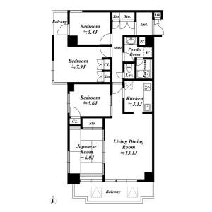 4LDK Mansion in Sumiyoshicho - Shinjuku-ku Floorplan