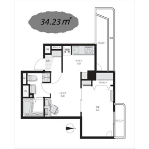 1LDK Apartment in Azumabashi - Sumida-ku Floorplan