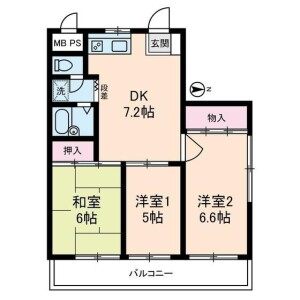 3DK Mansion in Omorinaka - Ota-ku Floorplan