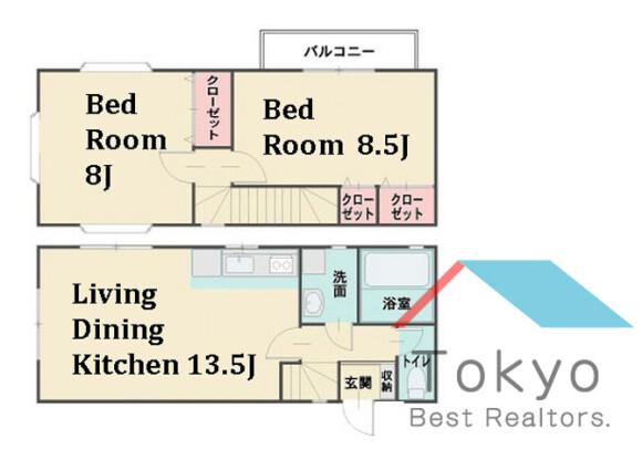 2LDK House to Rent in Shinjuku-ku Floorplan