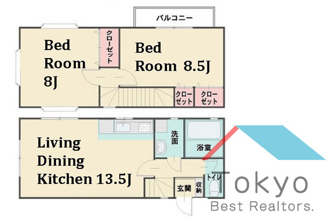 2LDK House to Rent in Shinjuku-ku Floorplan