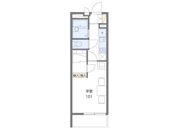 1K Apartment to Rent in Maebashi-shi Floorplan