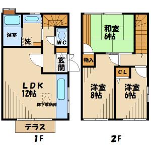 3LDK Terrace house in Misawa - Hino-shi Floorplan