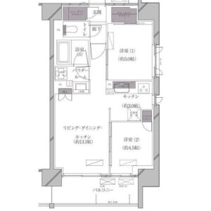 2LDK Mansion in Kaigan(1.2-chome) - Minato-ku Floorplan