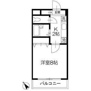 1K Apartment in Chishirodai kita - Chiba-shi Wakaba-ku Floorplan