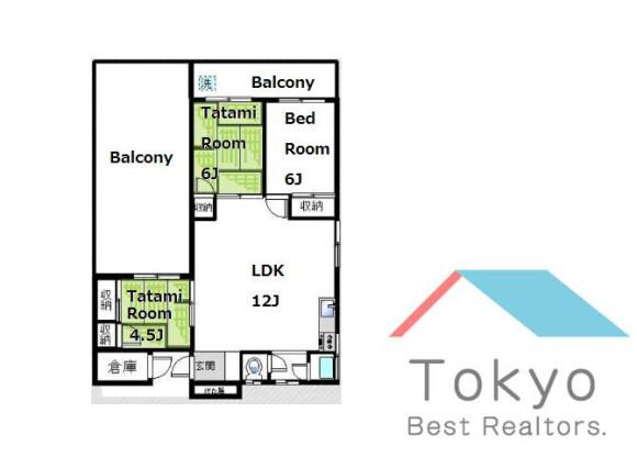 3LDK Apartment to Rent in Nakano-ku Floorplan