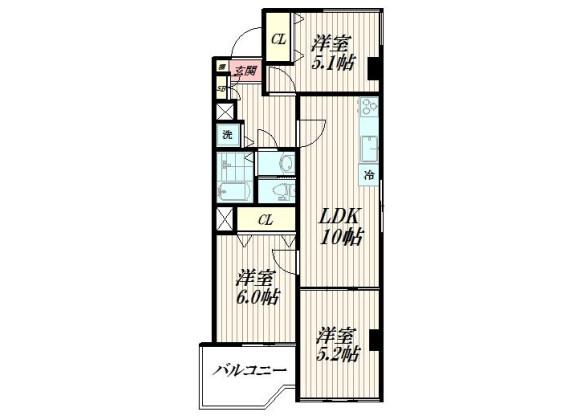 3LDK Apartment to Buy in Meguro-ku Floorplan