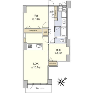 2LDK Apartment in Motoazabu - Minato-ku Floorplan