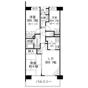 3LDK Mansion in Myoden - Ichikawa-shi Floorplan