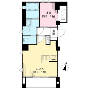 1LDK Mansion in Todoroki - Setagaya-ku Floorplan