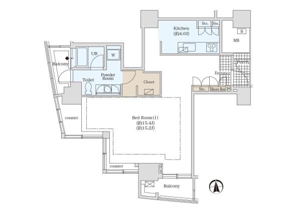 1K Serviced Apartment to Rent in Minato-ku Floorplan
