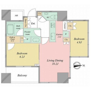 2LDK {building type} in Shiba(1-3-chome) - Minato-ku Floorplan