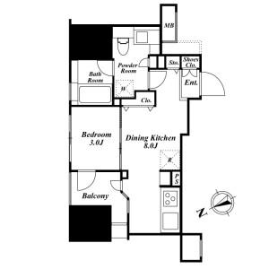 1DK Mansion in Nishigotanda - Shinagawa-ku Floorplan