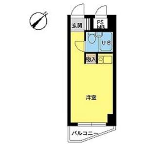 横濱市中區日ノ出町-1R公寓大廈 房間格局