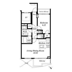 港区西麻布-1LDK公寓 楼层布局