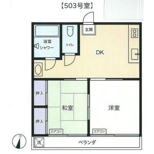 2DK {building type} in Toyokacho - Yokohama-shi Tsurumi-ku Floorplan