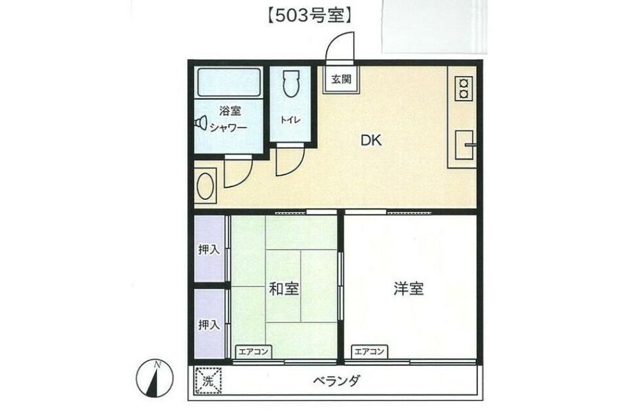 2DK Apartment to Buy in Yokohama-shi Tsurumi-ku Floorplan