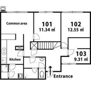 Shared House in Kamiikebukuro - Toshima-ku Floorplan