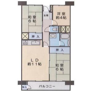 3LDK Apartment in Nishi - Toride-shi Floorplan