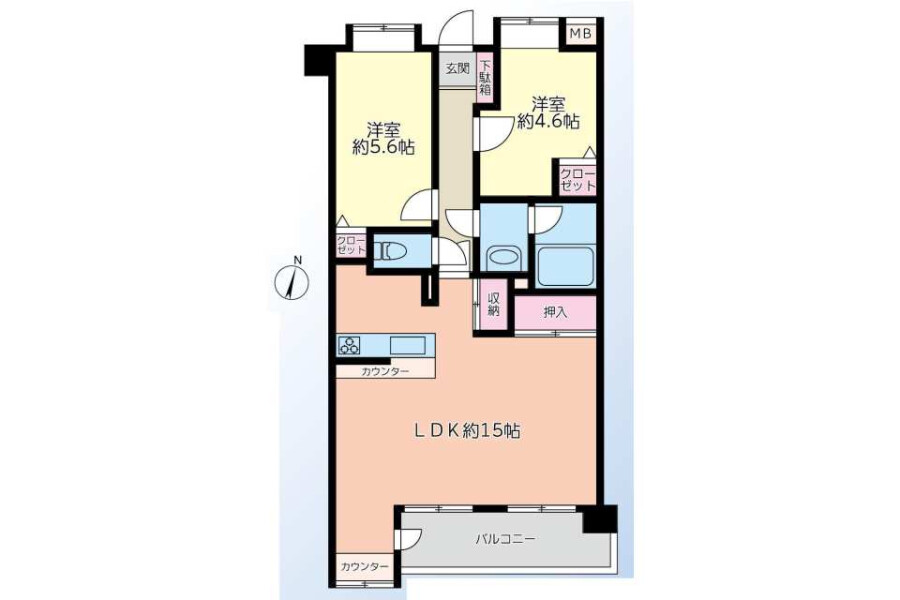 2LDK Apartment to Buy in Adachi-ku Floorplan