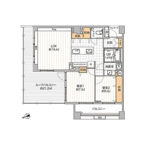 2LDK {building type} in Mita - Meguro-ku Floorplan