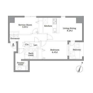 1SLDK Mansion in Higashiazabu - Minato-ku Floorplan