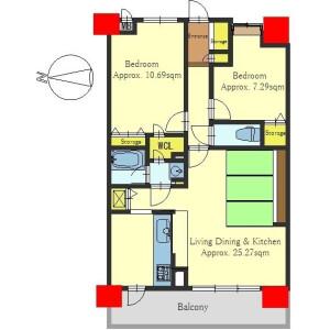 2LDK Apartment in Sashimonocho - Kyoto-shi Nakagyo-ku Floorplan