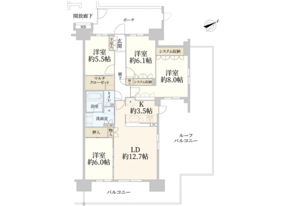4LDK Apartment to Buy in Koto-ku Floorplan
