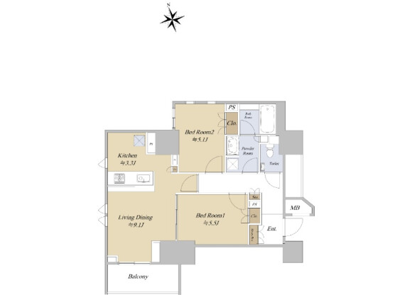 2LDK Apartment to Buy in Taito-ku Floorplan