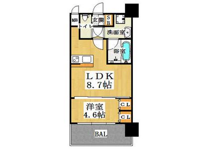 1LDK Apartment to Rent in Osaka-shi Yodogawa-ku Floorplan