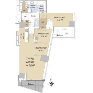 3LDK {building type} in Nishiazabu - Minato-ku Floorplan