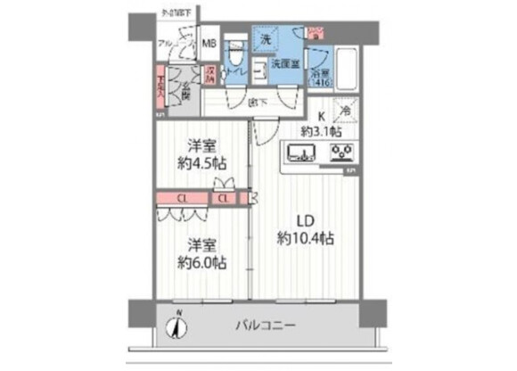 2LDK Apartment to Buy in Osaka-shi Kita-ku Floorplan