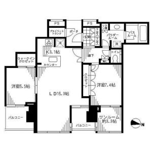 港區港南-2LDK公寓大廈 房間格局