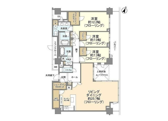 3LDK Apartment to Rent in Yokohama-shi Nishi-ku Floorplan