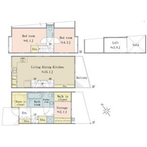 港区 - 南青山 獨棟住宅 2SLDK 房間格局