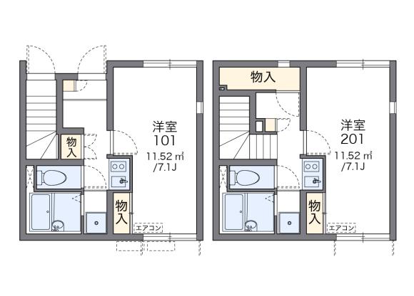 1K アパート 広島市南区 間取り