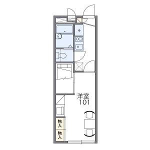 寝屋川市境橋町-1K公寓 楼层布局