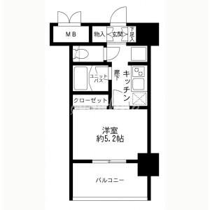 1K Mansion in Minamiazabu - Minato-ku Floorplan