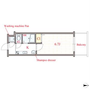 1K Mansion in Kitahorie - Osaka-shi Nishi-ku Floorplan