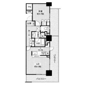 1LDK Apartment in Nishishinjuku - Shinjuku-ku Floorplan