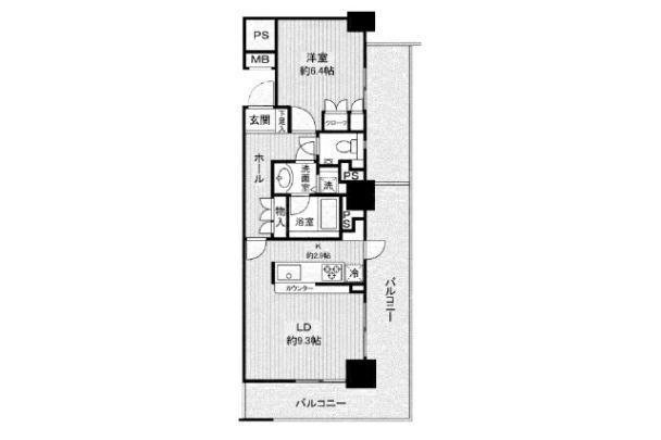 1LDK Apartment to Rent in Shinjuku-ku Floorplan