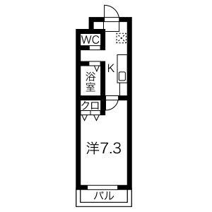 1K Mansion in Togancho - Nagoya-shi Nishi-ku Floorplan