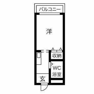 1K Apartment in Karita - Osaka-shi Sumiyoshi-ku Floorplan