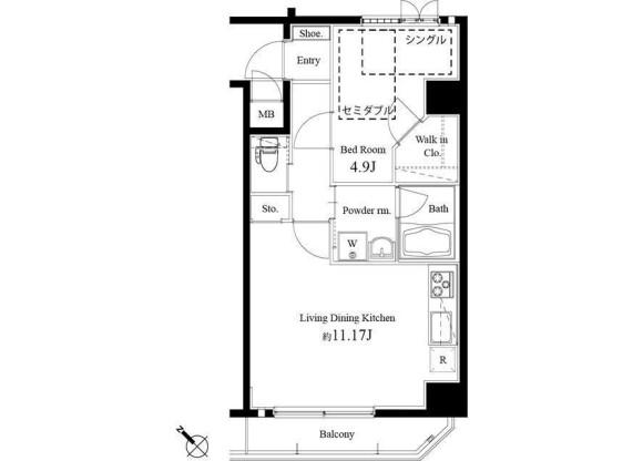 1LDK Apartment to Rent in Chuo-ku Floorplan