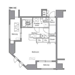 1K Mansion in Higashishimbashi - Minato-ku Floorplan