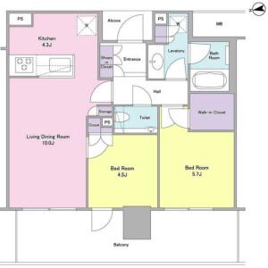 2LDK Mansion in Minatomirai - Yokohama-shi Nishi-ku Floorplan